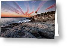 Sunset, Castle Hill Lighthouse  Greeting Card