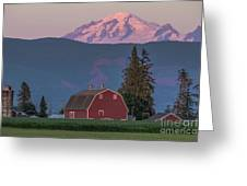Sunset Reflection On Mt. Baker Greeting Card