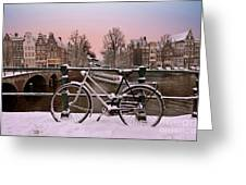 Sunset In Snowy Amsterdam In The Netherlands In Winter Greeting Card