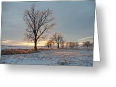 Sunset Over Icy Field Greeting Card