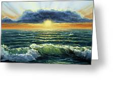 Sunset Over Ocean Greeting Card