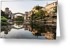 Sunset Over The Famous Mostar Bridge Greeting Card