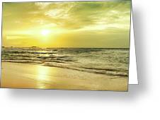 Sunset Over The Sea. Panorama Greeting Card