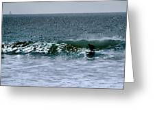 Surfing And Sailing Greeting Card