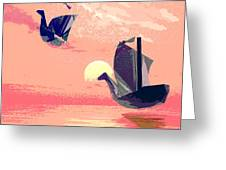 Swan Ships Leaving The Sea Greeting Card