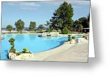 Swimming Pool Summer Vacation Scene Greeting Card