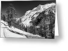 Swiss Winter Mountains Greeting Card