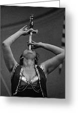 Sword Swallower Carny Performer Greeting Card