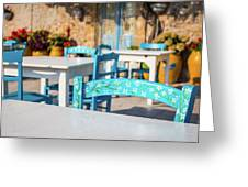 Tables In A Traditional Italian Restaurant In Sicily, Italy Greeting Card