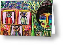 Talavera Owl Tree House Greeting Card