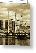 Tall Ship In Baltimore Harbor Greeting Card