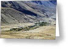 Tangsey Village Landscape Of Leh Ladakh Jammu And Kashmir India Greeting Card
