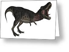 Tarbosaurus Dinosaur Roaring, White Greeting Card
