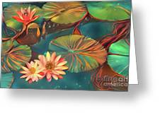 Teal Waterlilies 8 Greeting Card