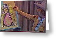Ted Degrazia Drawing An Angel On Camera Kvoa Tv Screen Capture Christmas 1967 Greeting Card