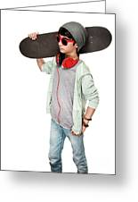 Teen Boy With Skateboard Greeting Card