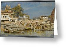 Temples And Bathing Ghat Greeting Card