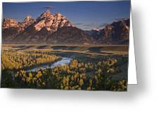 Teton Morning Greeting Card by Andrew Soundarajan