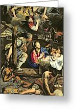 The Adoration Of The Shepherds Greeting Card by Fray Juan Batista Maino or Mayno