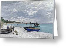 The Beach At Sainte Adresse Greeting Card
