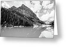 The Beauty Of Lake Louise Bw Greeting Card