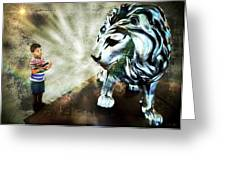 The Boy And The Lion 3 Greeting Card