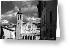 The Facade Of The Duomo With Mosaic And Eight Rose Windows And The Campanile Spoleto Umbria Italy Greeting Card