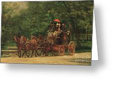 The Fairman Rogers Coach And Four Greeting Card by Thomas Cowperthwait Eakins