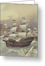 The Fleet Of Jean Ango Blocks The Tagus Greeting Card