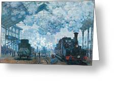 The Gare Saint-lazare Arrival Of A Train Greeting Card