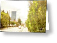 The Hedge By The Sidewalk During Day In The City Of Los Angeles Greeting Card