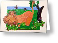 The Lion Who Loves Strawberries Greeting Card
