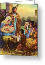 The Nativity Greeting Card by Valer Ian