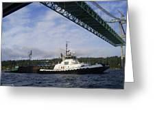 The New Tacoma Narrows Bridge - Foss Tug Greeting Card