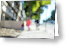 The People Walking On The Street During Day In The City Of Los A Greeting Card