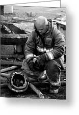 The Praying Firefighter Black And White Greeting Card