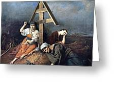 The Scene At The Grave H 1859 58h69 Am Gtg Vasily Perov Greeting Card