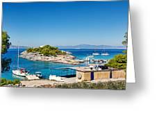 The Small Island Aponisos Near Agistri Island - Greece Greeting Card
