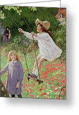 The Swing Greeting Card by Percy Tarrant