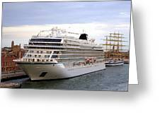 The Viking Star Cruise Liner In Venice Italy Greeting Card