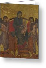 The Virgin And Child Enthroned With Two Angels Greeting Card