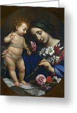 The Virgin And Child With Flowers Greeting Card