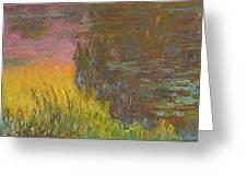 The Water Lilies, Setting Sun Greeting Card