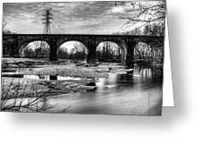 Thomas Viaduct In Black And White Greeting Card by Dennis Dame