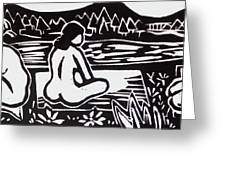 Three Bathers Greeting Card
