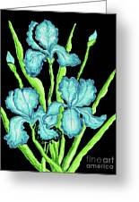 Three  Blue Irises Greeting Card