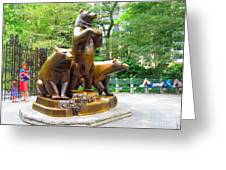 Three Bronze Sculpture Statue Of Bears Great Attraction At New York Ny Central Park By Navinjoshi Greeting Card