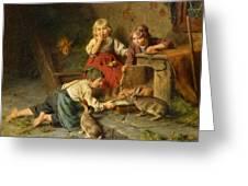 Three Children Feeding Rabbits Greeting Card
