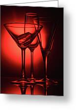 Three Empty Cocktail Glasses On Red Background Greeting Card