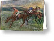 Three Jockeys Greeting Card